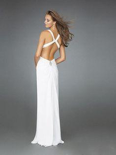 2011 Style Sheath / Column V-neck  Beading  Sleeveless Floor-length Chiffon White Prom Dress / Evening Dress