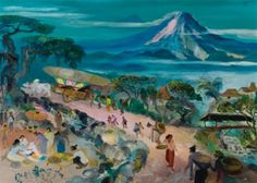 Hendra Gunawan - Market by Mount Merapi, sold for USD 322,028 by Sotheby's 2013.