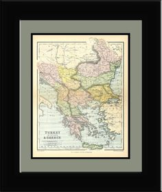 Vintage 1860's Map of Turkey in Europe and Greece  by PagesOfAges, $12.00