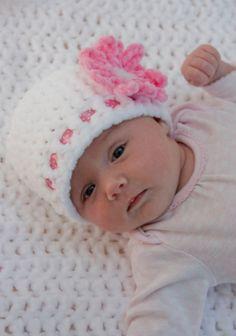 BABY GIRL BEANIE, white baby hat, crocheted by KerryJayneDesigns,crochet baby girl chenille hat, pink flower hat Children/baby Newborn, gift...