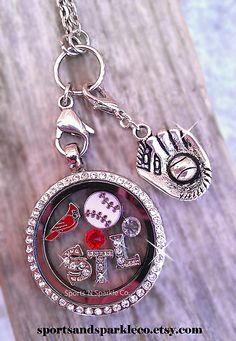 St. Louis Cardinals Baseball ~ Sports Team, Collegiate Floating Keepsake Glass Locket with Your Choice of Charms, Hearts, Dangles and More. Personalized your way. www.facebook.com/sportsandsparkle