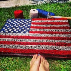 American Flag String Art that I made to get in the Fourth of July spirit. Happy Independence Day!!