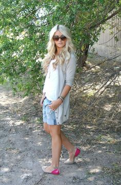 grey cardigan, white tee, boyfriend shorts and nude and pink flats.