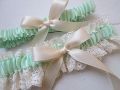 How to make a wedding garter instructions and photos christi van mint green wedding garter set ivory lace bridal garter meadow sage seafoam solutioingenieria Images
