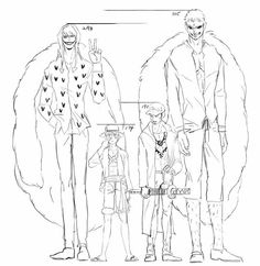 Law, Luffy, Corazon, Doflamingo, height, measuring, comparison, text; One Piece