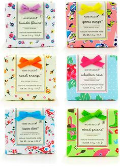 This soap packaging is beyond divine, with extra effort of little bows. So cute and sweet, how could the right buyer not want to snap up more than one of these? Suddenly I'm in the mood for Sprin Soap Packing, Savon Soap, Brand Packaging, Packaging Ideas, Food Packaging, Pretty Packaging, Home Made Soap, Packaging Design Inspiration, Handmade Soaps
