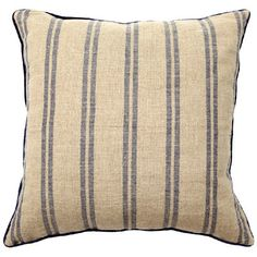 Rustic Natural/Navy Stripe Pillow Pair