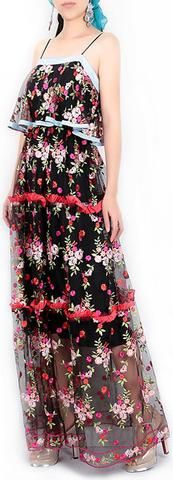 Embroidered Tulle Ruffled Maxi Dress