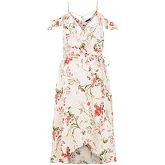 Pink Floral Print Cold Shoulder Midi Dress (€32) ❤ liked on Polyvore featuring dresses, open shoulder dress, white dress, floral print dress, white midi dress and mid calf dresses