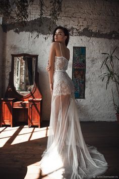 Buy Long Tulle Bridal Nightgown With Lace F31(Lingerie), Bridal Lingerie on Livemaster online shop