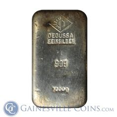 1,000 Gram Degussa Feinsilber #Silver Bar - Hand Poured http://www.gainesvillecoins.com/category/281/2014-silver-bullion-coins.aspx