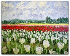 "White Tulips 24"" x 30"" Impasto Oil on Panel"