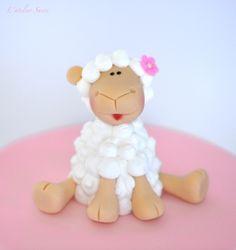 Sheep fondant & royal icin figurine by lateliersucre, via Flickr