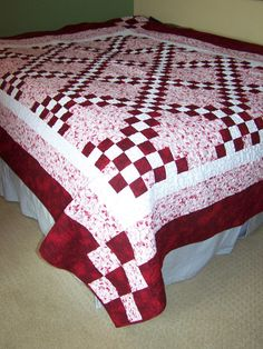 SALE Double Irish Chain Twin Full Bed Quilt 72 by BusyHandsQuilts, $189.00