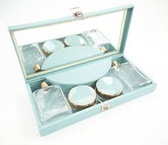 1950s Sirram Dinky Vanity Set Metal Duck Egg Blue Case by Yonks
