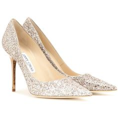 Jimmy Choo Abel Glitter Pumps ($515) ❤ liked on Polyvore featuring shoes, pumps, heels, gold, heels & pumps, jimmy choo, gold heel shoes, jimmy choo pumps and jimmy choo shoes