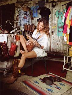 """Erin Wasson """"Texas Story"""" Elle Italia Aug 2010 #western #cowboy"""