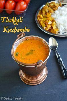 Spicy Treats: Thakkali Kuzhambu / Thakkali Kuzhambu For Rice(With Coconut) North Indian Recipes, South Indian Food, Indian Food Recipes, Ethnic Recipes, Easy Baking Recipes, Cooking Recipes, Indian Dishes, Veggie Recipes, A Food