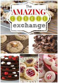 The Amazing Cookie Exchange ~ 50 Different Cookies! Shortbread cookies, chocolate chip cookies, thumbprints and blossoms, sugar cookies, and Cream Cheese Meltaways with Lemon Glaze - they're all here! Best Holiday Cookies, Holiday Cookie Recipes, Xmas Cookies, Yummy Cookies, Holiday Baking, Christmas Baking, Cookie Ideas, Snowball Cookies, Santa Cookies