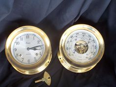 Chelsea (Boston) Shipstrike Brass Clock and Barometer Set. Clock strikes ship's time (bells), keeps accurate time. Barometer is also accurate. Heavy - clock weighs 5 1/2 pounds. Barometer, 5 pounds $575 1/2016