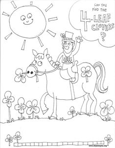This free coloring page for St Patrick's Day is perfect for the little ones. It is easy to search out the fourth leaf clovers.