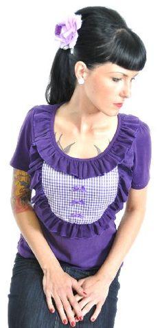 Küstenluder Burlesque Rüschen Gingham Shirt- Violett ab 22,90€ direkt kaufen oder zu deinem Wunschpreis bei Amazon.