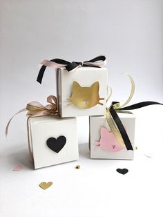 Excited to share the latest addition to my #etsy shop: Cat Favor Boxes Black Gold Pink Cat Girl 5th Birthday Party Decorations Kitten Meow Birthday Bachelorette Decorations Candy Box Set of 12