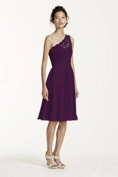 One shoulder lace and mesh dress.  Illusion one shoulder corded lace bodice with ribbon belt at waist.  Short mesh skirt is comfortable and easy to move in.  Available inextra length as style 2XLF15711.  Fully lined. Back zip. Imported polyester. Dry clean only. To protect your dress, try our Non Woven Garment Bag.