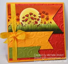 Hand stamped Poppies, Poppies, Poppies – Stampin' Up! Card created by Michelle Zindorf - Painted Poppies Poppy Cards, Embossed Cards, Stamping Up Cards, Flower Cards, Blank Cards, Diy Cards, Homemade Cards, Making Ideas, Cardmaking