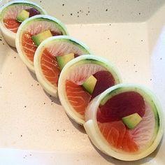 Food Art? Yummy Sashimi 3-in-1 piece!  with Tuna, Yellow Tail and Salmon