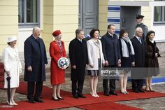 (L-R) Queen Sonja of Norway, King Harald V of Norway, Queen Margrethe II of Denmark, Finnish President Sauli Niinisto, his wife Jenni Haukio, the President of Iceland Gudni Johannesson, his wife Eliza Reid, King Carl XVI Gustaf of Sweden and Queen Silvia of Sweden pose at the yeard of the Finnish Presidential castle during the visit of the Nordic heads of state in Helsinki on June 1 2017.Nordic heads of state are visiting Finland to celebrate the centenary of Finland's independence. The…