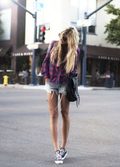 flannel shirt, short denim cut-offs, and converse... is it too cold for this look in fall?! cause i'm definitely in love.