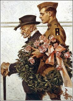 "Leyendecker painting, ""the war veteran"". military theme illustration art for Saturday Evening Post cover."