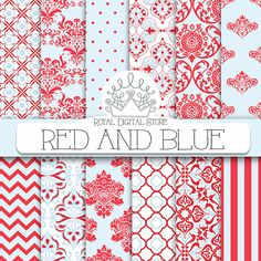 """Red and Blue digital paper: """"RED AND BLUE"""" with red and blue party patterns, red and blue, aqua damask for scrapbooking, cards, invitations"""