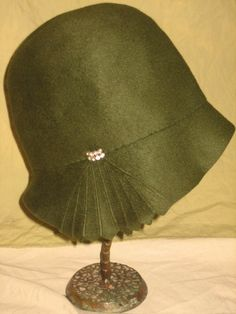 1920 DECO Emerald Green with Rhinestone and fanned side detail Flapper Cloche Bucket Hat by the MAY COMPANY New York Los Angeles and Paris- ALL green wool with silk lining.