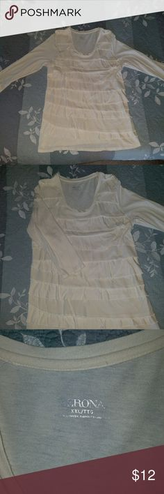 Cream Ruffled Shirt Cream Ruffled Shirt with 3/4 sleeves.  Fits like a Large size Merona Tops