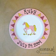 Pony and Pennants Name & Birthdate Plate  Large by JeurekaDesign, $37.00
