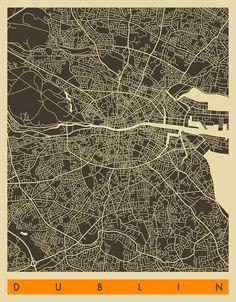 DUBLIN MAP Art Print by Jazzberry Blue