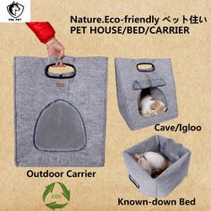 3 In 1 Functional Pet Bed Useful Small Dog Outdoor Carrier For Cat Felt Cat Cave And Also Use As Puppy Bed Pet Kennel 2Colors-in Houses, Kennels & Pens from Home & Garden on Aliexpress.com | Alibaba Group