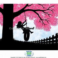 Girl Silhouette tire swing pink cherry blossom tree art print birthday baby shower gift nursery decor 8x10