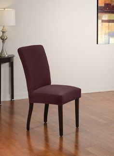 Diamond Stretch Merlot Dining Chair Slipcover. Deeply embossed diamond pattern upholstery, merlot form fit slip cover design, living room, beautiful, deep red home decor