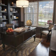 Home Office Idea Dark Wood Built Ins Large Desk Traditional