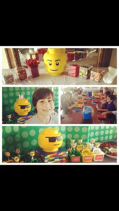 Lego party. Candy bar, lego head cake, goodie boxes