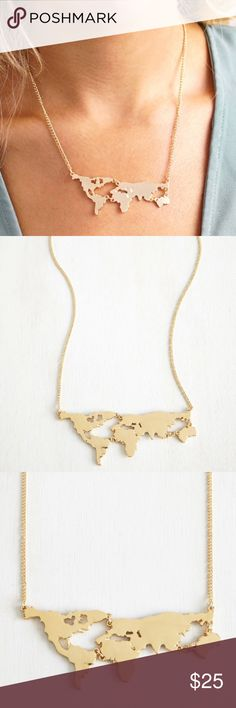 "Gold World Map Necklace Chain is 22"" long. Pendant is 3"" tall and 1"" wide.  The world map is multiple pieces linked together as pictured. Jewelry Necklaces"