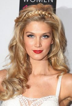 Long blonde wavy hair style with braided headband - Delta Goodrem hairstyles 2013 - 2014