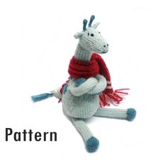 PDF Pattern - Clive the Chilly Giraffe - Knitting and Crochet knitting crochet plushie animal giraffe turquoise mint teal toy europeanstreetteam knit knitted Morrgan 3.20 EUR