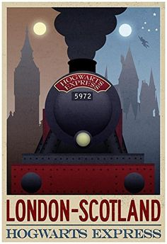 LOVE this retro-inspired Harry Potter London to Scotland Hogwarts Express travel poster. What fan would not have loved to board that famous train! It would be a great Harry Potter themed gift idea! Harry Potter Themed Gifts, Deco Harry Potter, Harry Potter Poster, Harry Potter Hogwarts, Harry Potter Plakat, Illustrations Harry Potter, Classe Harry Potter, Train Drawing, Anniversaire Harry Potter