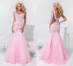Sexy pink mermaid bridal wedding dress V-neck bling bling by JUMX