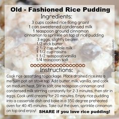 Old Fashioned Rice Pudding via Dinner at the Zoo - FB Post Pudding Desserts, Rice Pudding Recipes, Creamy Rice Pudding, Dessert Recipes, Rice Puddings, Bread Puddings, Rice Custard, Dessert Salads, Fruit Salads