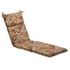 Pillow Perfect colored Floral Outdoor Chaise Lounge Cushion